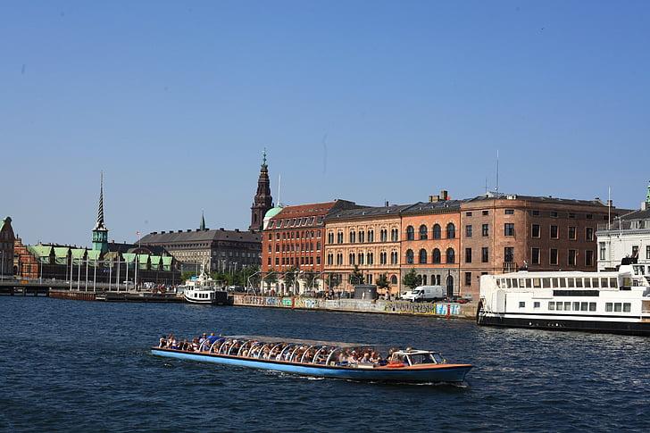 denmark, copenhagen, boats, port, channel, color, colorful