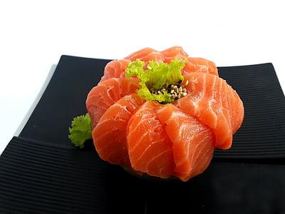 sushi, salmon, sashimi, food, seafood, meal, freshness