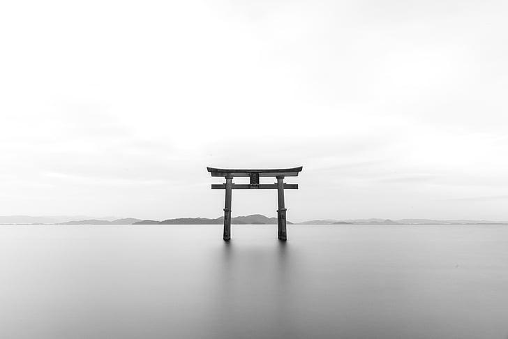 Tori, Torii, Santuário, b w, preto e branco, Japonês, Marco