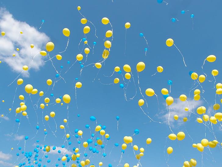 воздушные шары, шарики, небо, воздушный шар, Голубое небо, Муха, Голубой