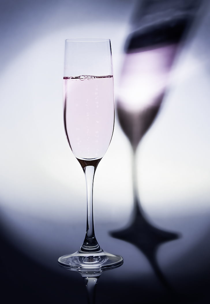 champagne, shadow, light, glass, drinking cup, purple, light and shadow