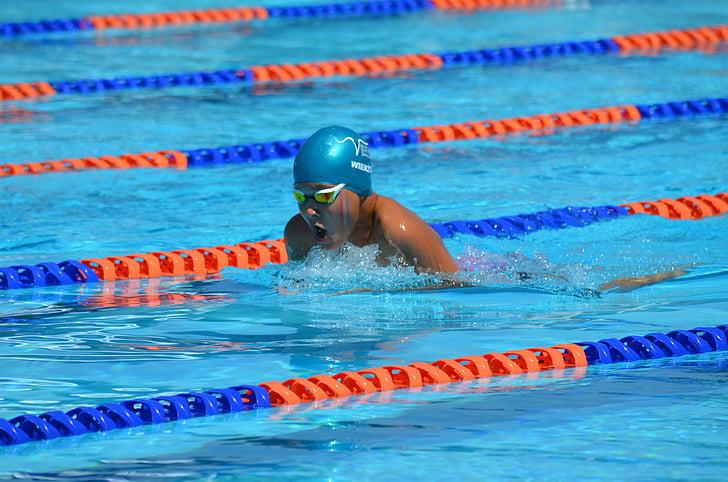 Natació, nedador, diabètic, feliç, l'activitat, exercici, esport