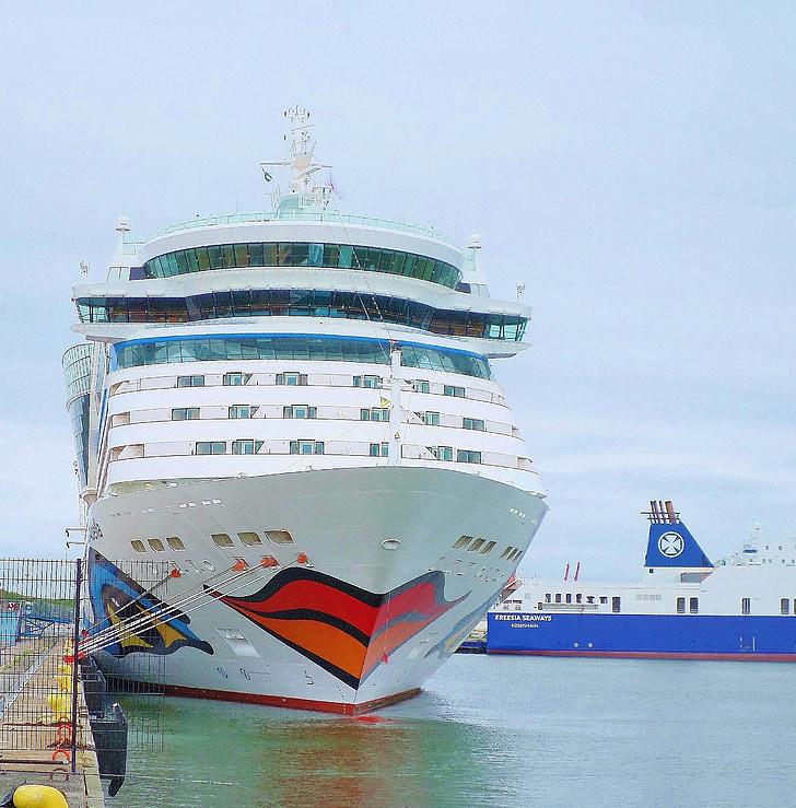 Puss mun, kryssningsfartyg, Aida, Bella, hamn, Göteborg, Sverige