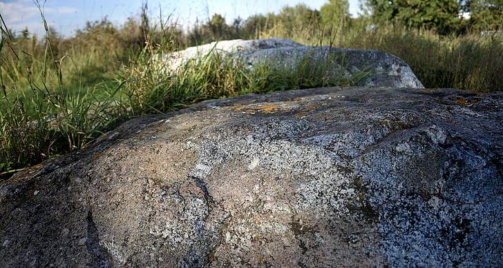 pedras, rocha, grama, pedras naturais, pedras