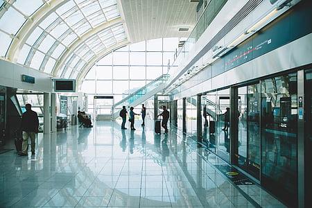 Sáu, mọi người, đứng, Sân bay, đi du lịch, giao thông vận tải, chuyến đi