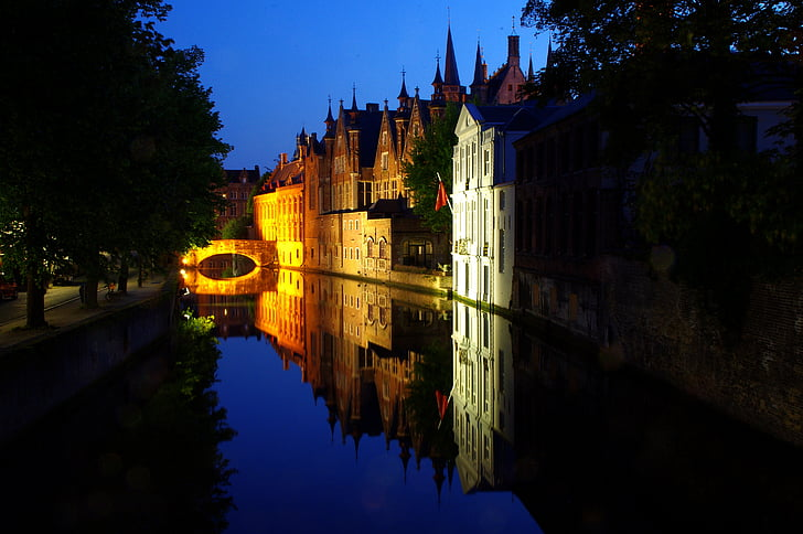 Брюгге, ніч, дзеркальне відображення, води, відбиття, abendstimmung, Ліхтарі