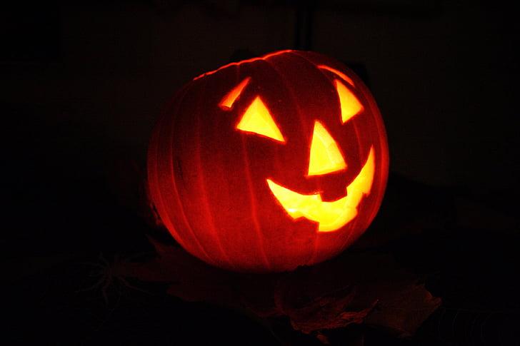 jack, lantern, pumpkin, face, halloween, celebration, fruit