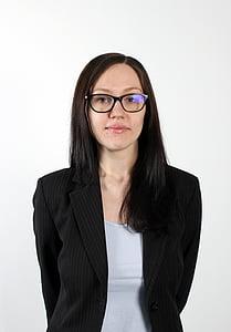 sieviete, brilles, darījumu sieviete, profesionālās, lietišķā uzvalkā, persona, uzņēmuma