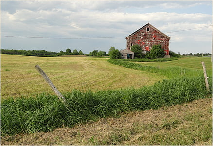old barns, landscapes, farm, country, fields, rural ny, clouds
