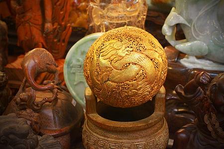 Āzija, Taivāna, antīks, pūķis, Zelts, balle, Budisms