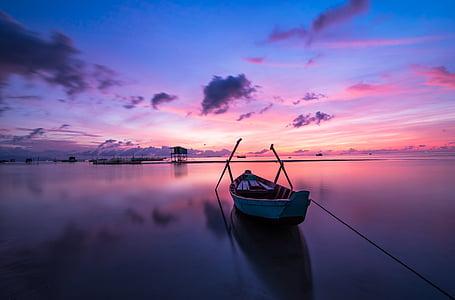 lever du soleil, Phu quoc, île, océan, eau, paysage, Sky