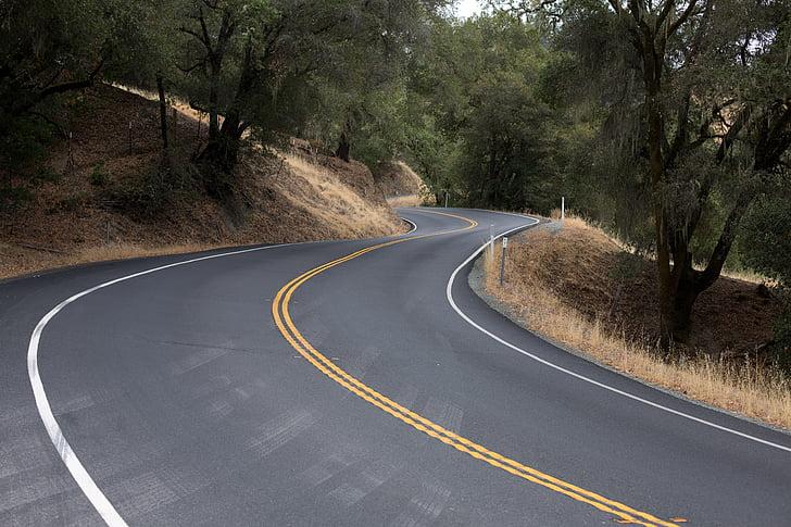slingrande väg, Road, resor, svängda vägen, kurvig väg, resa, resa
