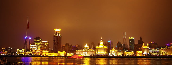 shanghai, night view, downtown, light, the bund