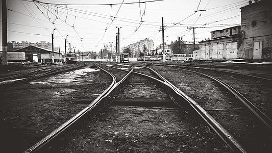 spårvagn, Depot, Ryssland, svart, Urban, staden, Wire