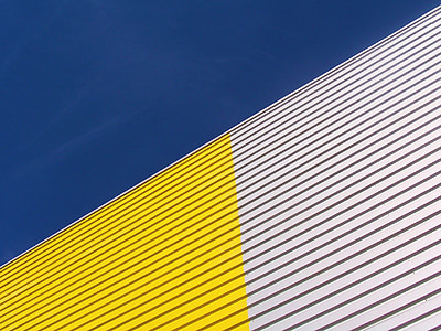 contrast, yellow, blue, gray, heaven, building, architecture