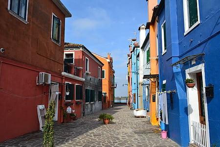 เวนิส, กิโลเมตร, อิตาลี, burano, สี, บ้านที่มีสีสัน, บ้าน