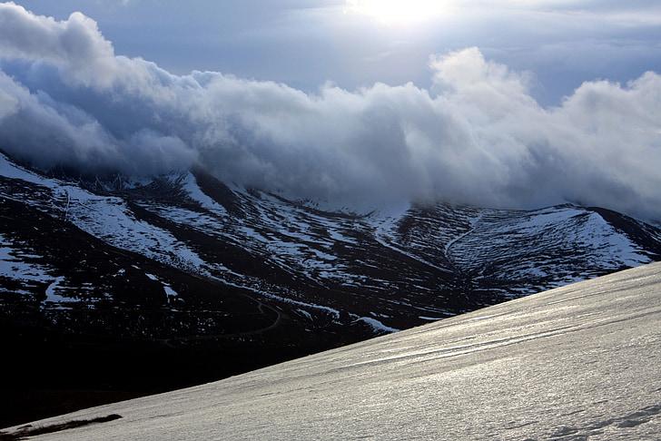 Inverno, montanha, nuvens, neve, natureza, ao ar livre, pico de montanha