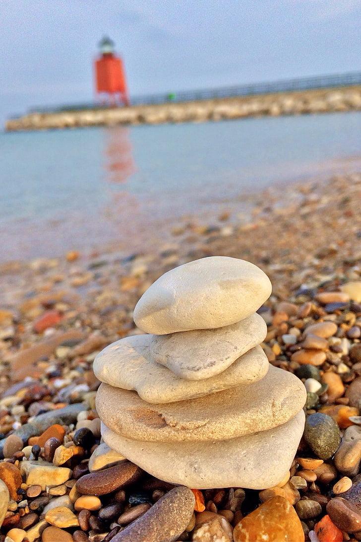 empilement de pierres, phare, Michigan, Charlevoix, plage, nature, littoral