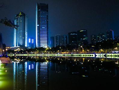 skyline, buildings, towers, night, dark, city, water