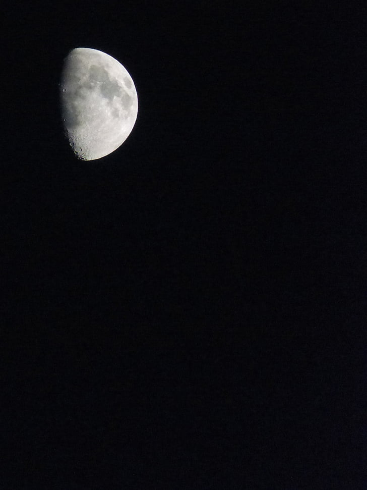moon, black sky, night, background, crater, black background