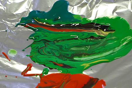 Zelená, červená, Farba, Farba, farebné, Akrylová farba, umelecky