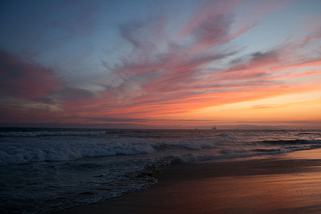 sunset, california, pacific, coast, huntington, beach