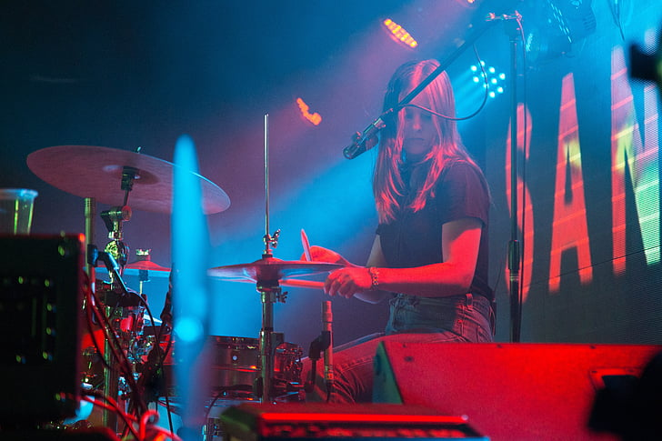 people, woman, drummer, drums, cymbals, sticks, performance