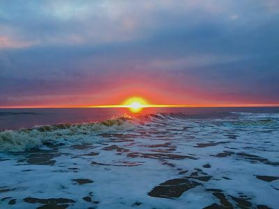 plajă, Răsărit de soare, waxham, apa