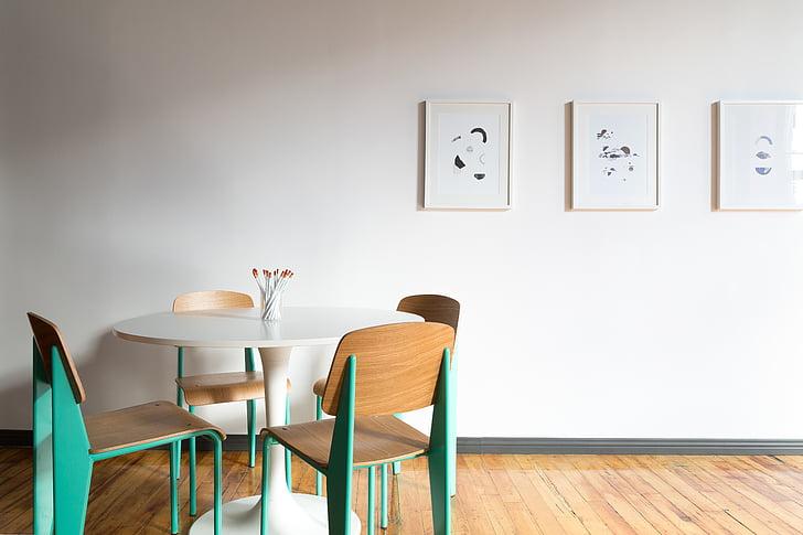 Apartament, cadires, contemporani, decoració, buit, mobles, casa