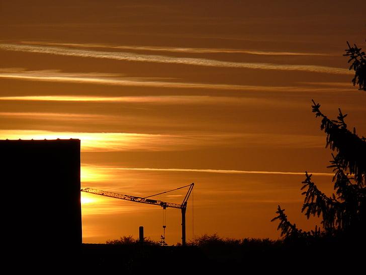 solnedgång, solen, Afterglow, kvällen, vintersol, siluett, skymning