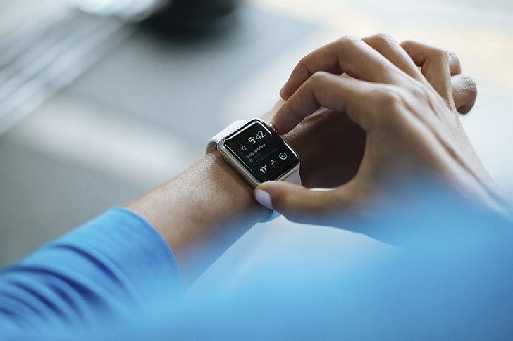 persones, mans, canell, veure, temps, rellotge, accessoris