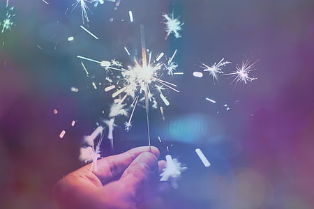 sparkler, new year's eve, festive, firework, celebration, bokeh, holiday