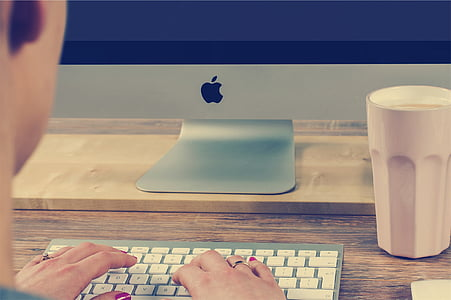 working, typing, mac, desktop, computer, office, desk