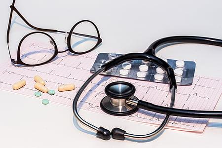 ECG, elektrocardiogram, stethoscoop, heartbeat, hart, frequentie, Kromme