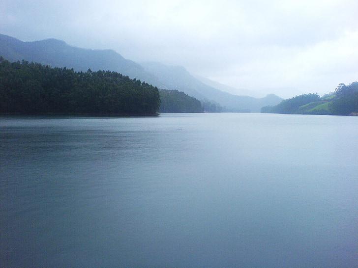 호수, 안개 낀, 안개, 자연, 인도, 조 경, 힐스