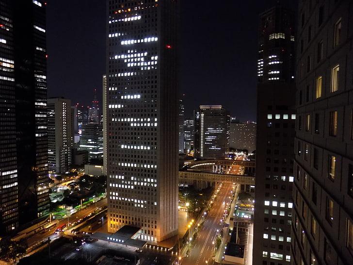 Shinjuku, Tòquio, Japó, paisatge de la ciutat, llums de la ciutat, nit, gratacels