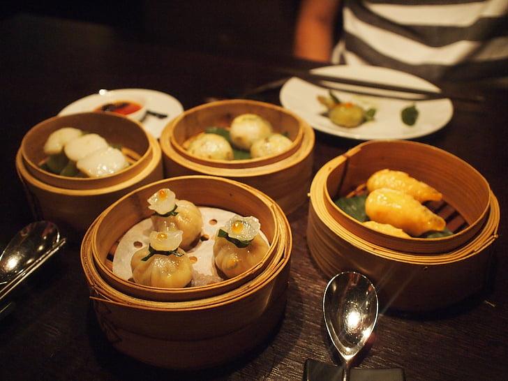 kinesisk mat, dumplings, Kinesiska, mat, restaurang, wontons