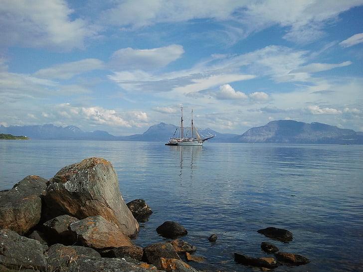 море, ветроходен кораб, вода, обувка, небе, платно, облаците