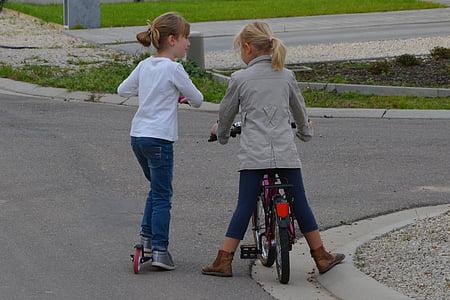 children, girls, bicycle, people, conversation, interview, friends