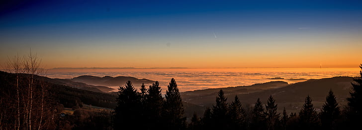 zonsondergang, mist, stemming
