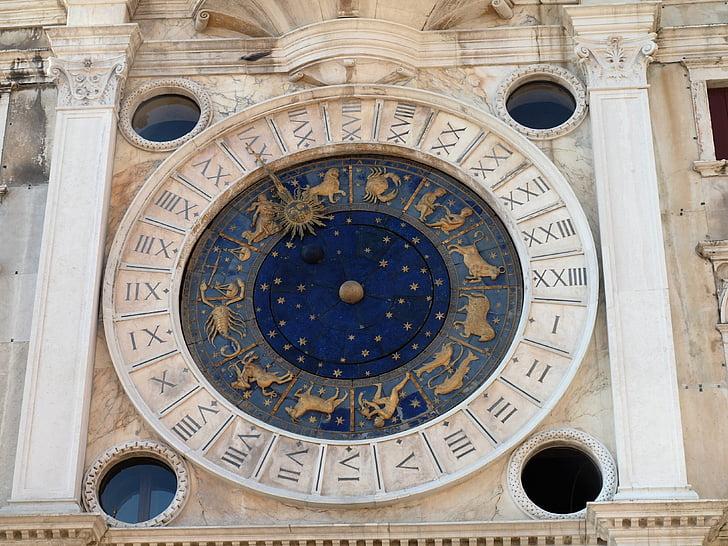 Italië, Venetië, Saint mark's square, klok, Horoscoop, het platform, gevels