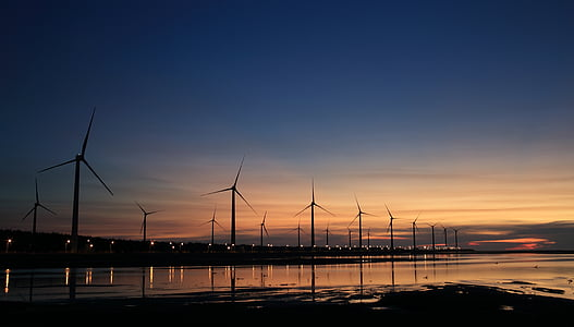 clouds, dawn, dusk, electricity, energy, industry, lights