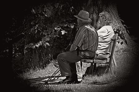 pair, man, woman, old, age, black, white