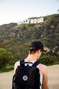 lidé, Guy, muž, cestování, batoh, Hollywood, Highland