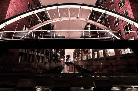 bridge, night, architecture, bridge - Man Made Structure, river, famous Place, urban Scene