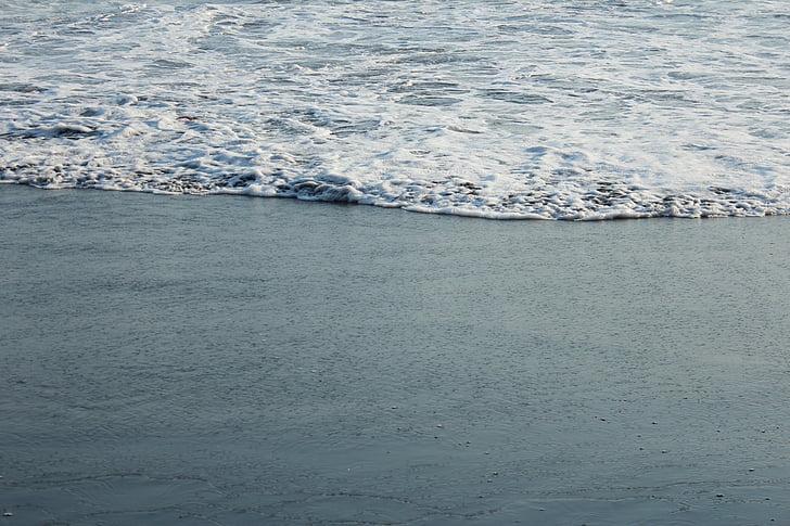 skum, kysten, sand, sjøkanten, sjø-skum, vann, stranden