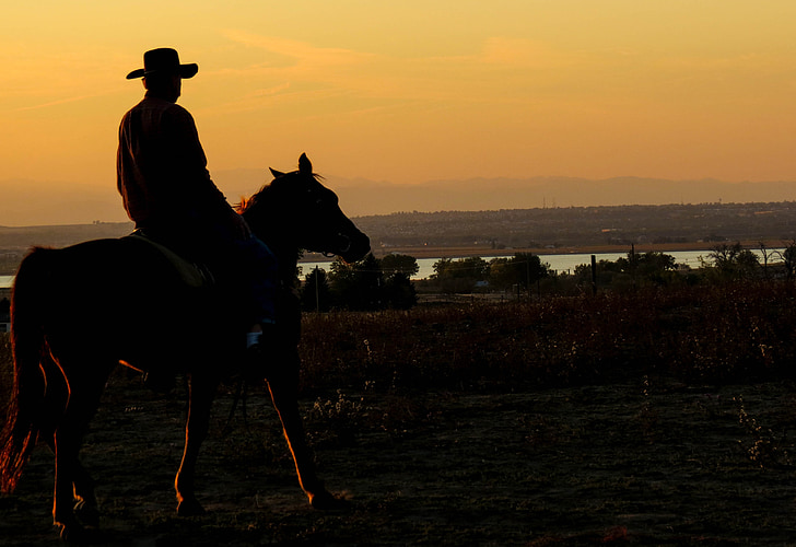 cowboy, sunset, lake, dusk, country, western, silhouette