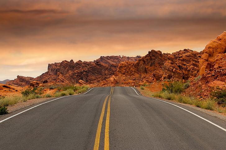 estrada, montanhas, pôr do sol, caminho, deserto, Vale do fogo, las vegas
