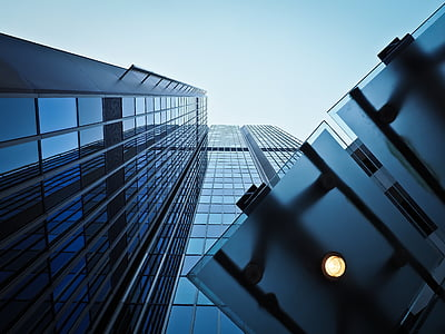 arhitektuur, kaasaegne, hoone, fassaad, pilvelõhkuja, geomeetriline, akna