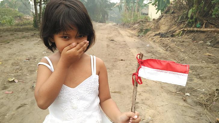 dziecko, ładny, młody, Zdjęcia domeny publicznej, Indonezyjski, Flaga, szybsze bicie